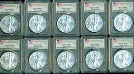 SPECIAL LOT OF 10 PCGS MS70 GRADED 2019 $1 FIRST STRIKE SILVER EAGLES. CONSECUTIVE PCGS NUMBERS!