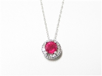 .40 CT RUBY & DIAMOND 14K WG PENDANT & 14K WG NECKLACE