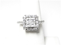 1.25 CT PRINCESS & ROUND DIAMOND 14K WG HALO RING