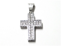 1 CT DIAMOND 14K WG CROSS PENDANT