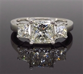 14K WHITE GOLD THREE STONE 2.26 C.T.W PRINCESS CUT DIAMOND RING