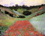 MONET ** POPPY FIELD OF FLOWERS IN A VALLEY AT GIVERNY ** CANVAS