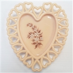 WESTMORELAND GLASS HAND PAINTED DECORATIVE HEART PLATE