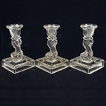 SET OF 3 GLASS KOI FISH CANDLESTICK HOLDERS