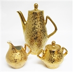 5 PIECE WEEPING GOLD COFFEE SET