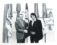 PRESIDENT RICHARD NIXON MEETS THE KING ELVIS PRESLEY FACSIMILE SIGNED 8x10