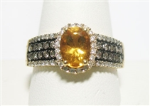 14K LEVIAN CITRINE AND DIAMOND RING