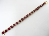 14K RUBY AND DIAMOND BRACELET 45.40 C.T.W.