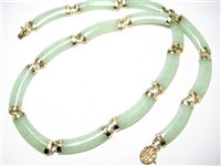 GREEN JADE 14K YG ASIAN LARGE NECKLACE
