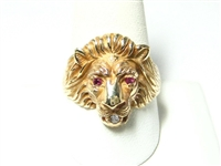 MENS DIAMOND & RUBY GOLD LIONS HEAD RING