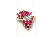 1 CT RUBY & DIAMOND 14K YG RING