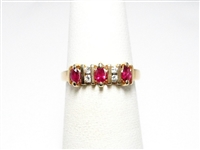 14K YG .30 CT MARQUISE RUBY & DIAMOND RING