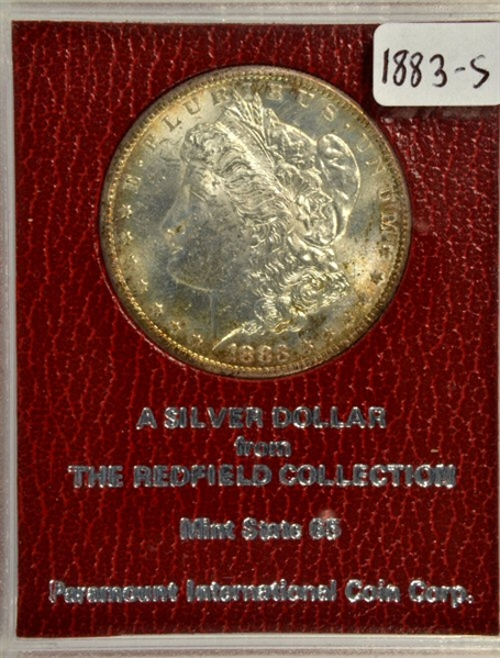 RARE GEM BU 1883-S MORGAN SILVER DOLLAR. MS65 REDFIELD COLLECTION