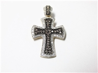 LARGE 1.50 CT DIAMOND GOLD CROSS PENDANT / PEARL ENHANCER