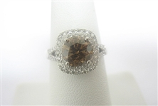 18K COGNAC AND WHITE DIAMOND RING 2.85 C.T.W.