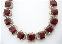 14K RUBY AND DIAMOND NECKLACE 107.52 C.T.W.