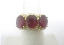 18K RUBY AND DIAMOND RING 7.98 C.T.W.