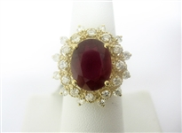 14K RUBY AND DIAMOND RING 8.59 C.T.W.