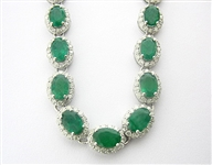 14K EMERALD AND DIAMOND NECKLACE 26.87 C.T.W