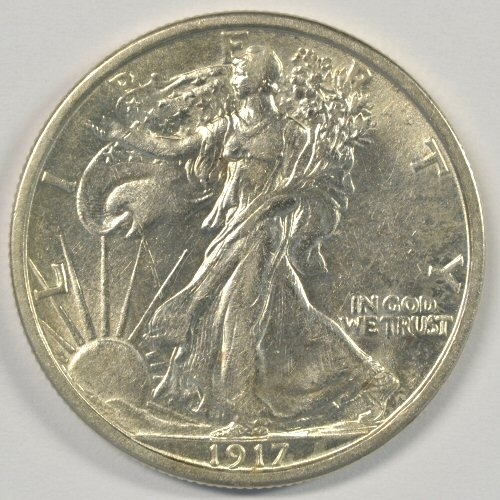 RARE MINT STATE 1917-D (REVERSE) WALKING LIBERTY HALF DOLLAR