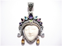 2 CT GEMSTONE & CARVED BONE FACE 18K YG & STERLING PENDANT