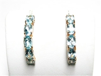 5 CT BLUE TOPAZ WRAP-AROUND GOLD EARRINGS