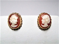 ANTIQUE STYLE 14K YG CAMEO STUD EARRINGS