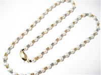 4.5 MM PEARL & 14K TWO TONE BEAD NECKLACE