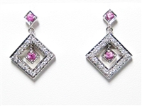 1 CT PINK SAPPHIRE & DIAMOND 14K WG EARRINGS