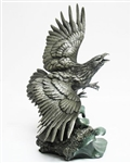 "FRANKLIN MINT PEWTER BALD EAGLE ""MONARCH OF THE SHORES"""