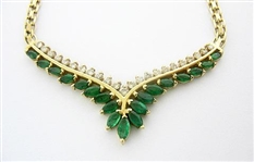 14K EMERALD AND DIAMOND NECKLACE 4 C.T.W.