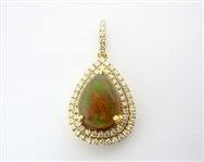 14K OPAL AND DIAMOND PENDANT 2.98 C.T.W.