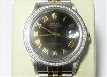 ROLEX MENS 18K & STAINLESS QUICKSET DATEJUST, WITH DIAMOND BEZEL