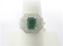 PLATINUM EMERALD AND DIAMOND RING 2.03 C.T.W.