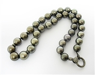 14K TAHITIAN PEARL AND DIAMOND NECKLACE
