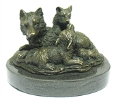 WOLF AND CUBS BRONZE FIGURINE