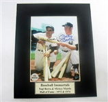 HAND SIGNED MICKEY MANTLE & YOGI BERRA 5X7 IN A 8X10 MATTED DISPLAY