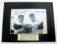 HAND SIGNED YOGI BERRA AND WHITEY FORD 5X7 IN A MATTED 8X10 DISPLAY