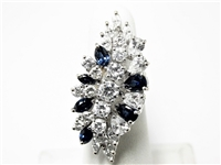 5.5 CT SAPPHIRE & DIAMOND LARGE 14K WG COCKTAIL RING