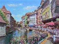 PARK ** SPRING TIME IN ANNECY ** SIGNED CANVAS