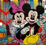 JOZZA ** MICKEY & MINNIE ** ORIGINAL MIXED MEDIA ON FAUX BRICK BOARD