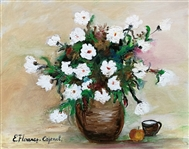 COJENEL ELENA **WHITE FLOWERS** ORIGINAL PAINTING ON CANVAS