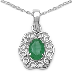 .73 CT. EMERALD PENDANT IN STERLING SILVER