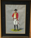 ORIGINAL PAINTING OF 25 th. REGIMENT OF FOOT, OFFICER  OF BATTALION, CIRCA 1770.