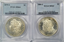 PREMIUM QUALITY NEAR GEM 1879-S & 1880-S MORGAN SILVER DOLLARS. PCGS MS64S WITH PROOFLIKE SURFACES