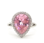 3 C.T.W. PINK SAPPHIRE AND TOPAZ RING IN STERLING SILVER