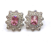 4 C.T.W. PINK SAPPHIRE AND WHITE TOPAZ EARRINGS IN STERLING SILVER