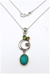 TURQUOISE, GREEN TOPAZ, PINK SAPPHIRE PENDANT IN TWO TONE STERLING SILVER