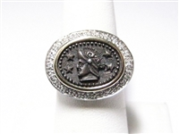 DIAMOND & ANCIENT COIN STERLING SILVER RING