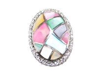 MOSAIC PEARL & CZ STERLING SILVER BROOCH